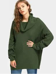 cowl sweater tunic cowl neck oversized sweater green sweaters one size zaful
