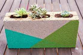 Decorative Cinder Blocks Home Depot Colorblocked Cinder Block Planter Spray Painting Planters And
