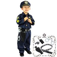 kids police officer costume w walkie talkie handcuffs whistle for