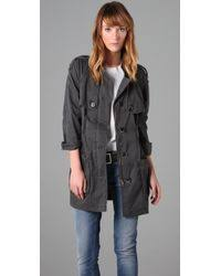 Free People Parka Free People Cotton Military Parka In Gray Lyst