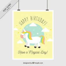 birthday greeting card with unicorn vector free download