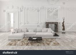 Living Room Wainscoting Classical White Monochrome Living Room Interior Stock Illustration