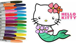 hello kitty coloring book page mermaid airplane summer hello kitty