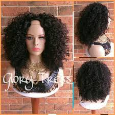ready ship curly u part wig natural curly wig big afro wig