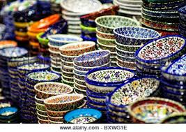 painted plates for sale at a market in kiev ukraine eastern
