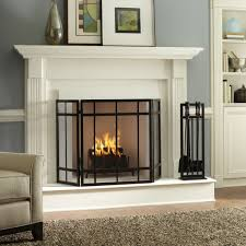 vintage interior ideas with tri fold fireplace screen and black