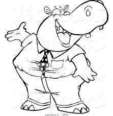 baby hippo coloring pages vector of a cartoon business hippo presenting outlined coloring