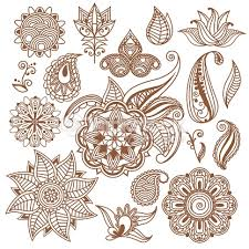 Indian Style - henna mehndi abstract floral vector elements in indian