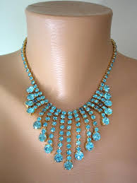 crystal collar statement necklace images Turquoise rhinestone necklace aqua choker crystal statement jpg