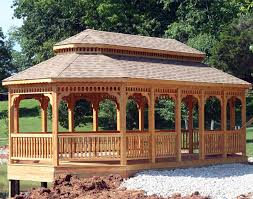 Discount Gazebos by Treated Pine Double Roof 8 Sided Oval Gazebos Gazebos By