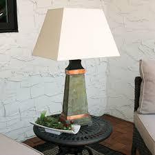 sunnydaze indoor outdoor copper trimmed slate table lamp 30 inch