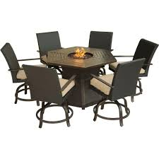 hexagon shaped kitchen table hanover aspen creek 7 piece patio fire pit dining set with natural