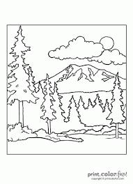 forest scene coloring print color fun