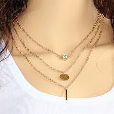 double necklace style images New fashion summer style hamsa hand multi layer necklace gold jpg