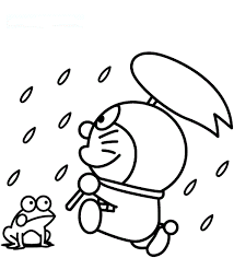 Doraemon In A Rainy Day Coloring Page Boys Pages Of Rainy Day Coloring Pages