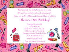 glamour girls makeup birthday party invitations birthday ideas