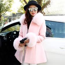 light pink wool coat winter light pink blue fox fur collar wool coat thicker coat female