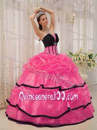 and black quinceanera dresses clearance beading and layers quinceanera dress in hot pink and