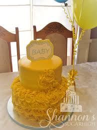 2 tier yellow and aqua baby shower cake with buttercream rosettes