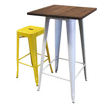 Wooden Bar Table Tolix Bar Table 80x80 White Wood Top Tolix Stool 76cm Yellow Jpg