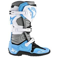 dirt bike racing boots alpinestars men u0027s tech 10 boots cyan white gray closeout
