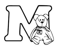 teddy bear with letter m coloring page teddy bear with letter m