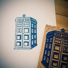 doctor who tardis block print my lino cut block prints