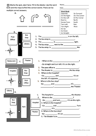 directions prepositions maps worksheet worksheet free esl