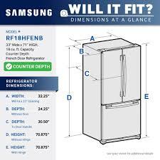 Countertop Width Samsung 17 5 Cu Ft French Door Counter Depth Refrigerator Silver
