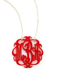 monogram acrylic necklace moon and lola large acrylic script monogram pendant necklace