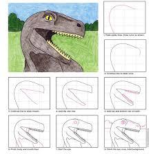 dinosaur head tutorials free and drawings