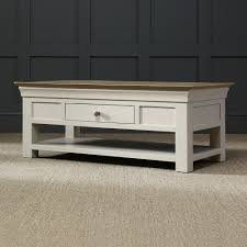 french country grey painted oak coffee table with shelf and drawer