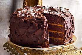 layered chocolate and salted caramel cake