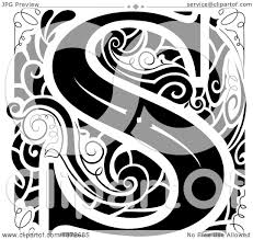 monogram letter s clipart of a black and white vintage letter s monogram royalty