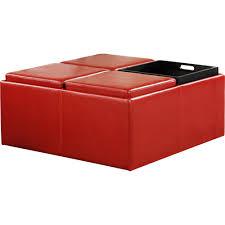 kinfine faux leather cocktail storage ottoman square walmart com