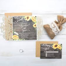 Sunflower Wedding Invitations Rustic Wedding Invitations With Response Cards