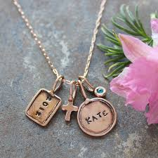 Stamped Initial Necklace Rose Gold Necklace With Stamped Initial Charms Personalized