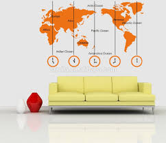 India Time Zone Map by World Map And Time Zone Large Wall Sticker Decal Tv Sofa