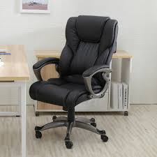 Office Computer Desk Black Pu Leather High Back Office Chair Executive Task Ergonomic