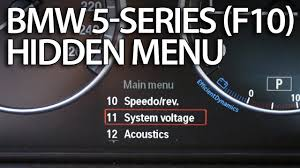 how to enter hidden menu in bmw f10 f11 f07 5 series service test