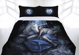 anne stokes blue moon doona quilt cover bed set double queen king unicorn maiden princess forest