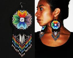 Native American Beaded Earrings Huichol 984 Best Chaquira Images On Pinterest Bead Patterns Beaded