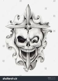 skull cross tattoo hand drawing on stock illustration 156169529