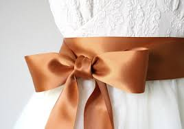 copper ribbon copper wedding sash rust sash orange sash rustic wedding