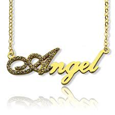 gold plated name necklace gold plated script name necklace initial birthstone
