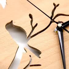 birds wooden wall clock design 3d plywood wall clock for nursery