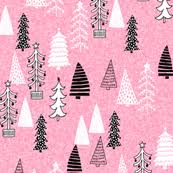 pink christmas christmas tree fabric wallpaper gift wrap spoonflower