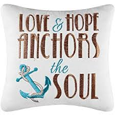Items Similar To Love Anchors - com 10 pillow love hope anchors the soul home kitchen