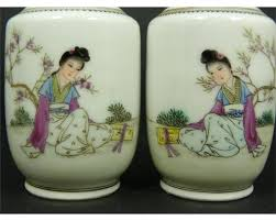 Chinese Hand Painted Porcelain Vases 4 Chinese Porcelain Hand Painted Miniature Vases