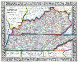 Ky Map File 1862 Mitchell Map Of Kentucky And Tennessee Geographicus